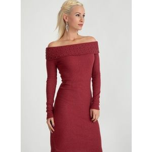 Beaded off the shoulder ribbed sweater dress